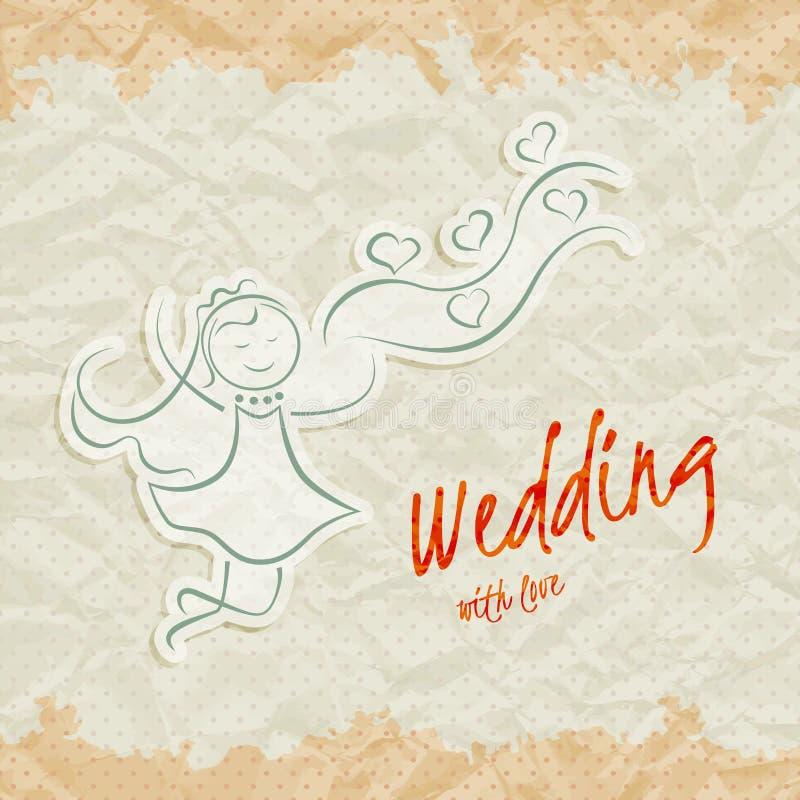 De kaart van de huwelijksuitnodiging met mooie bruid vector illustratie