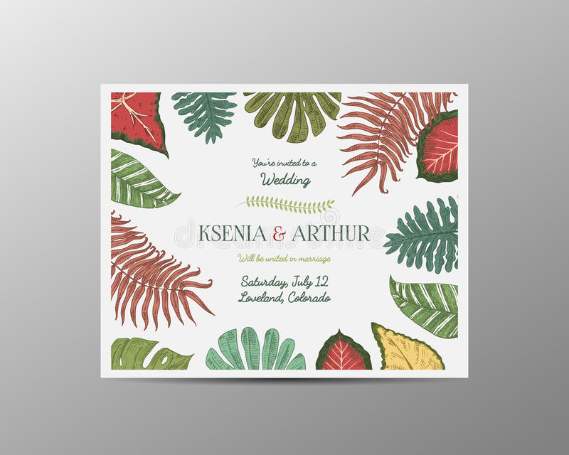 De kaart van de huwelijksuitnodiging, wijnoogst graveerde malplaatje voor huwelijk, tropische bladerenbruidegom als achtergrond e stock illustratie