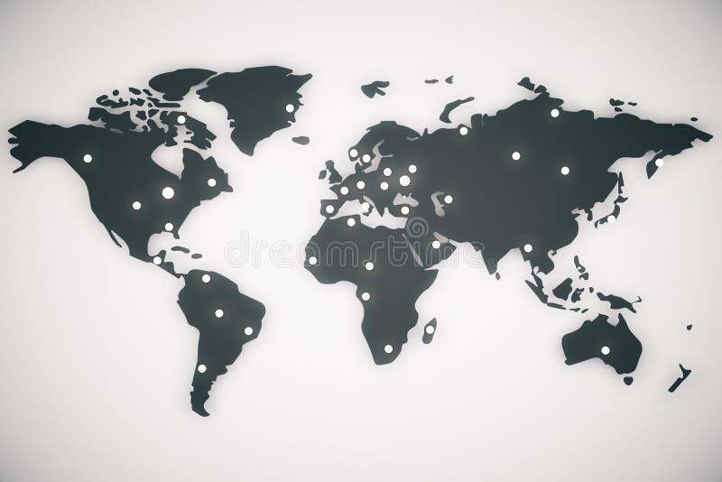 De kaart van de illustratiewereld met kapitalen royalty-vrije illustratie