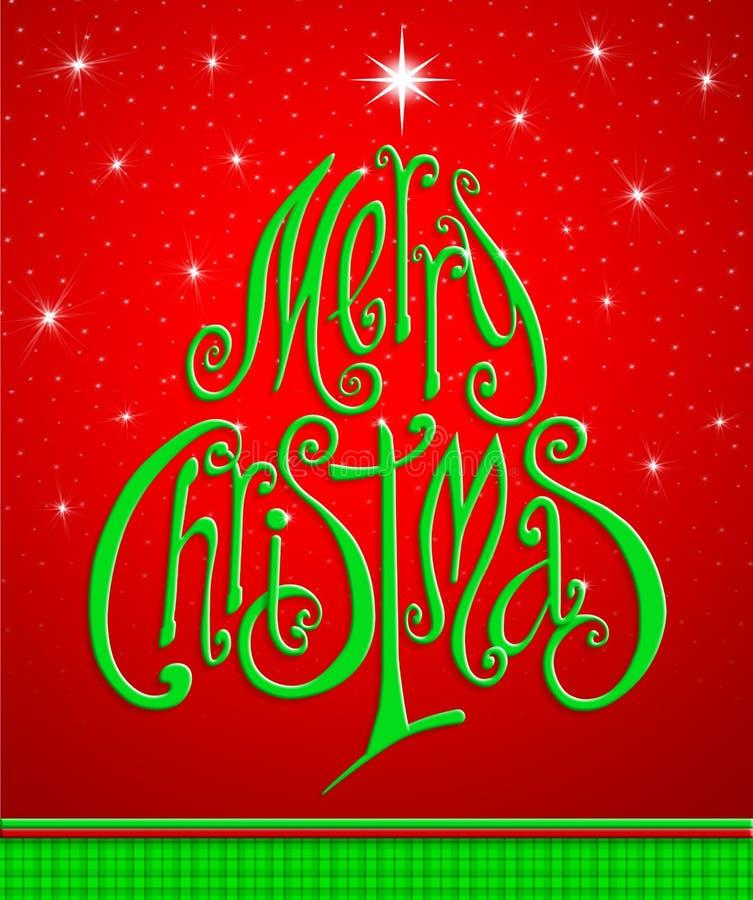 De Kaart van de Kerstmisgroet. Het vrolijke Kerstmis van letters voorzien als christma stock afbeelding