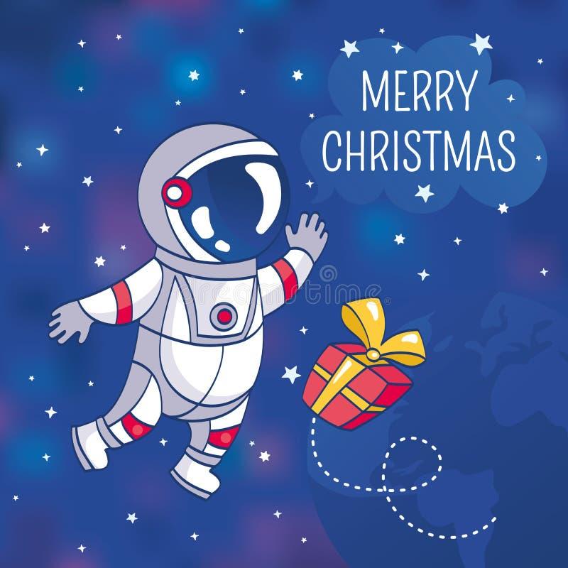 De kaart van de Kerstmisgroet met astronaut vector illustratie
