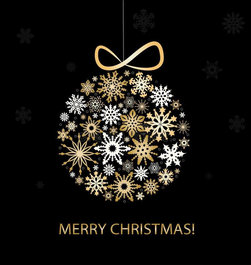 De Kaart van de Kerstmisgroet met gouden ballen royalty-vrije illustratie