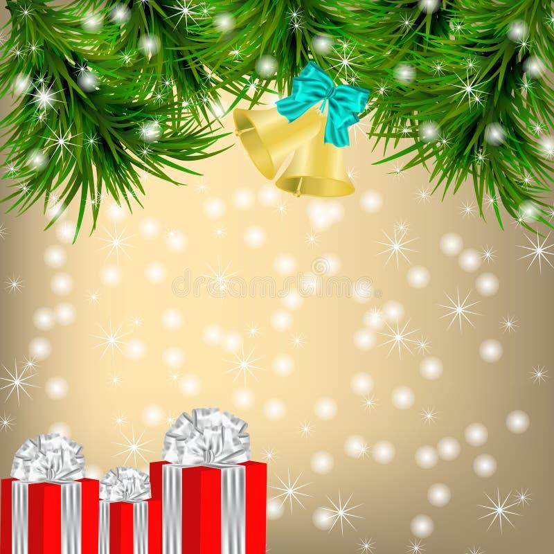 De kaart van de Kerstmisgroet met Kerstboom en kenwijsjeklokken royalty-vrije illustratie