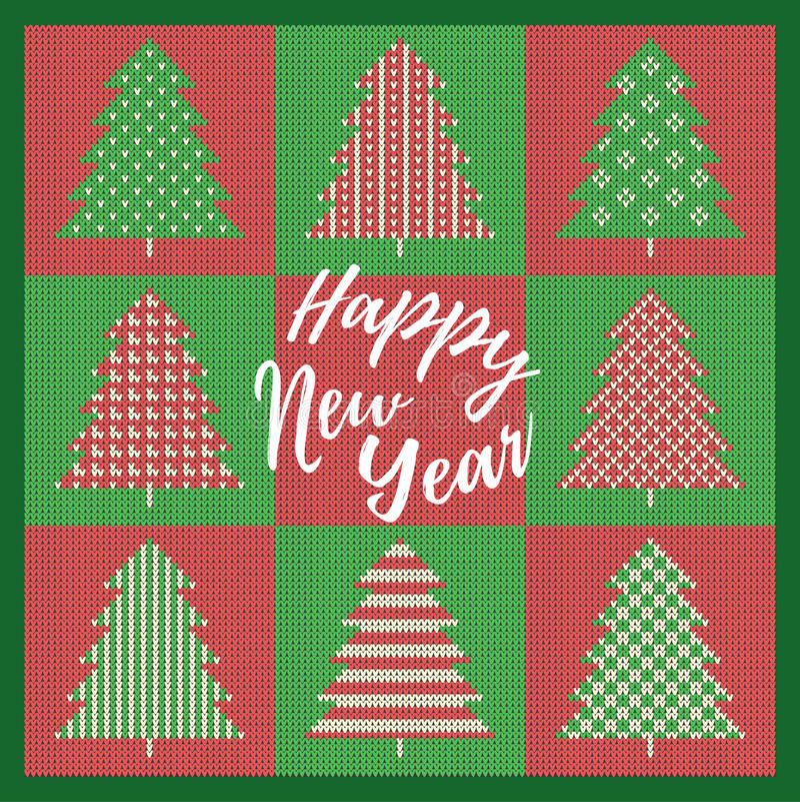 De Kaart van de Kerstmisgroet met rode en groene spar met decoratie Op een groen achtergrond gebreid patroon en Gelukkige Nieuw royalty-vrije illustratie