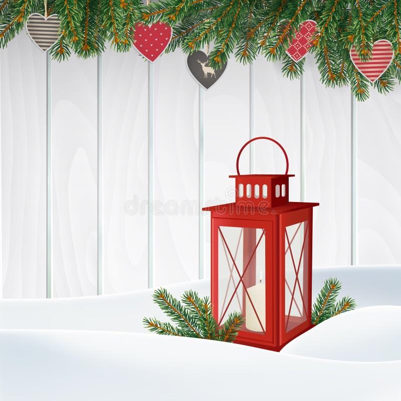 De kaart van de Kerstmisgroet, uitnodiging De winterscène, rode lantaarn met kaars, Kerstboomtakken, takjes Houten achtergrond vector illustratie