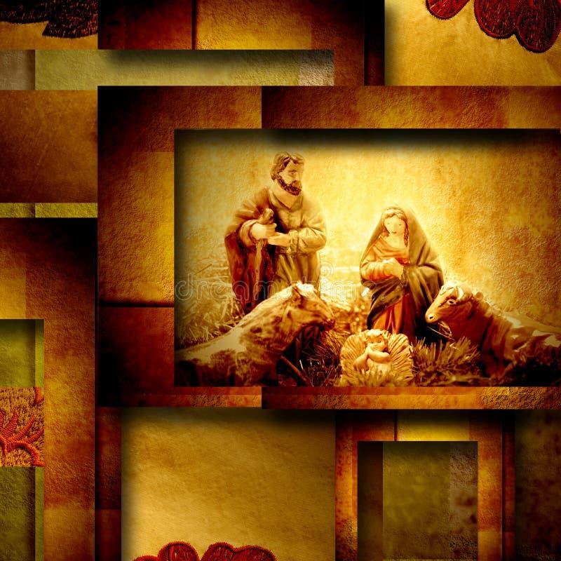 De kaart van de Kerstmisgroet van de geboorte van Christusscène stock illustratie