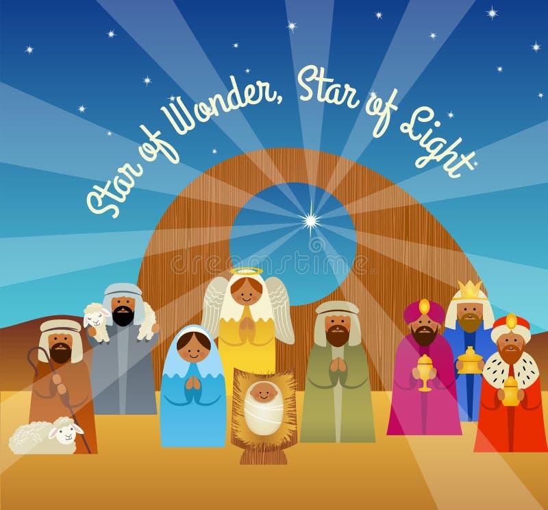 De kaart van de Kerstmisgroet van de geboorte van Christusscène royalty-vrije illustratie
