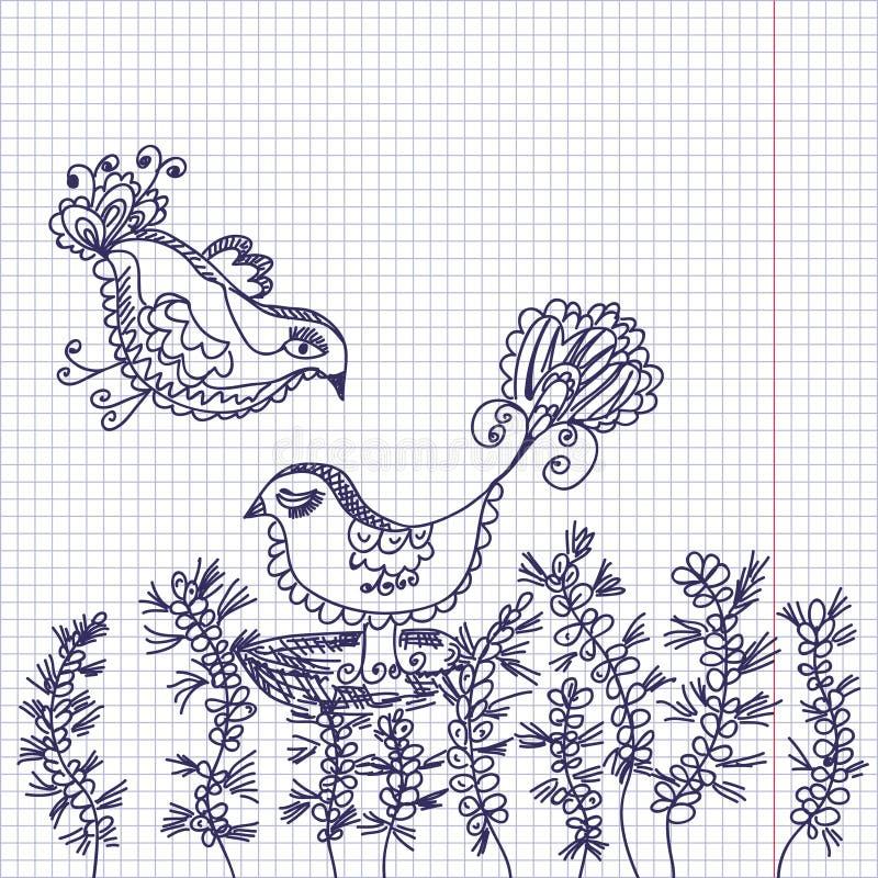 De kaart van de krabbel met vogels en bloemen stock illustratie
