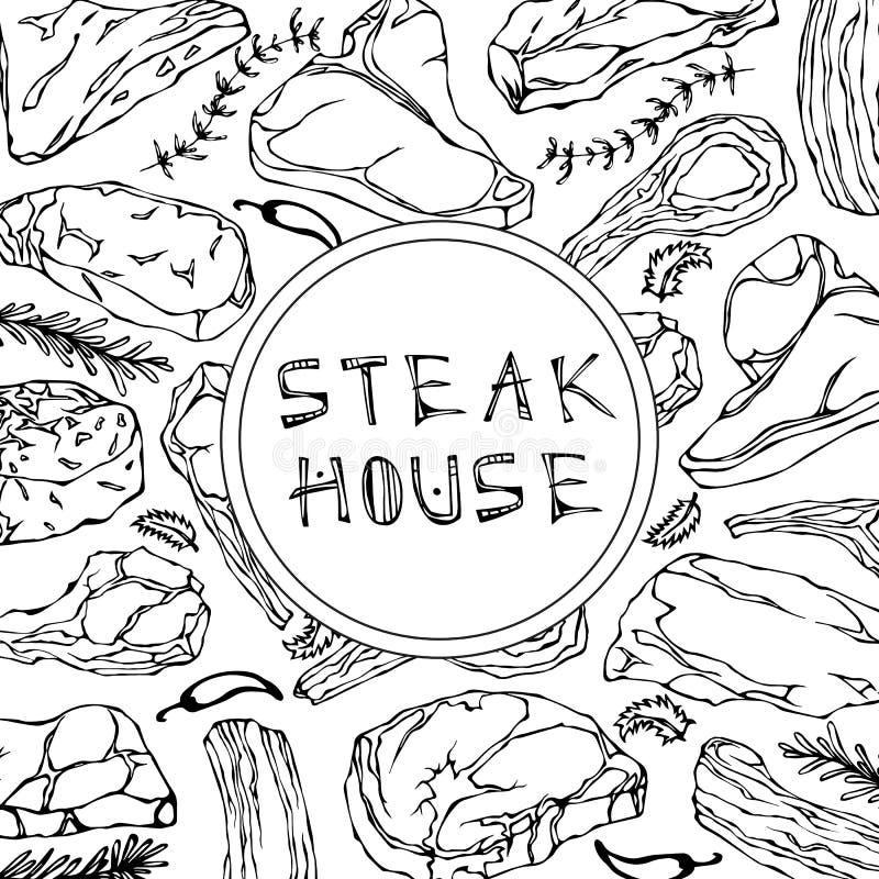 De Kaart van de lapje vleeswinkel met Vleeswaren en Kruiden Restaurantmenu of Slager Market Template Rundvleeslapje vlees, Lam, V stock illustratie