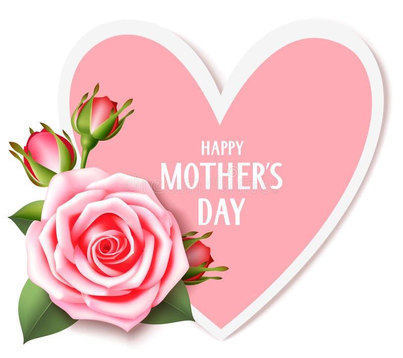 De kaart van de moeder` s dag met roze nam en hart dat op wit wordt geïsoleerd toe De gelukkige tekst van de Moeder` s Dag royalty-vrije illustratie
