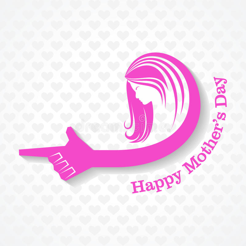 De kaart van de moedersdag met gezicht met tekst vector illustratie