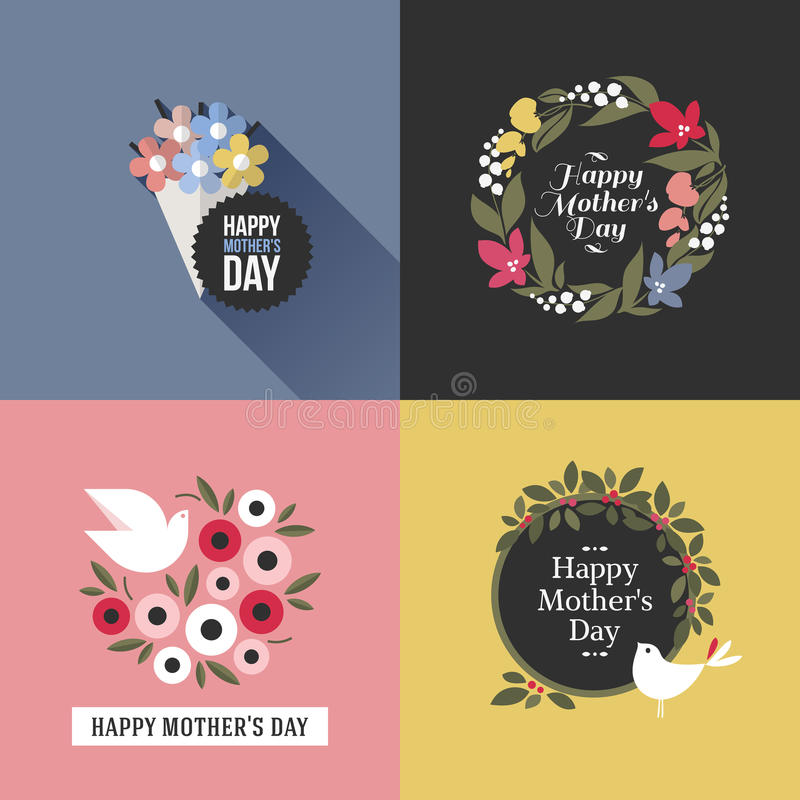 De kaart van de moedersdag met mooie vogels, assortiment van bloemen stock illustratie