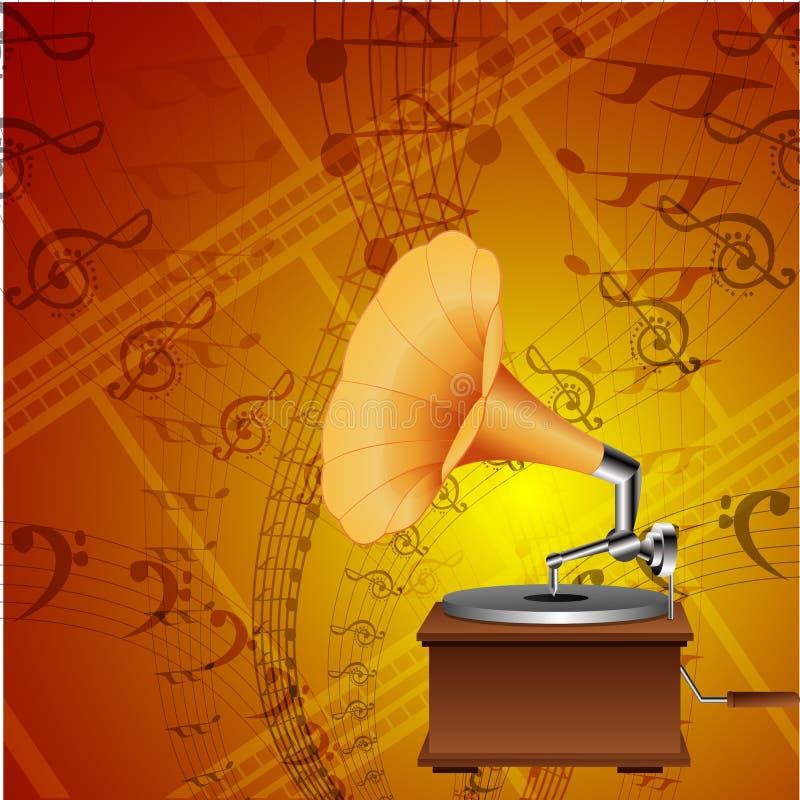 De kaart van de muziek met grammofoon vector illustratie