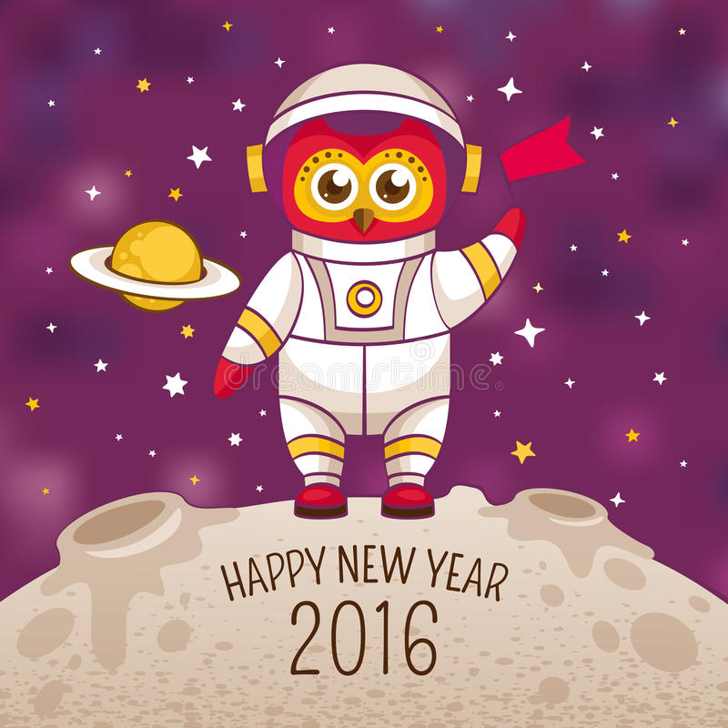 De kaart van de nieuwjaargroet met uilastronaut stock illustratie