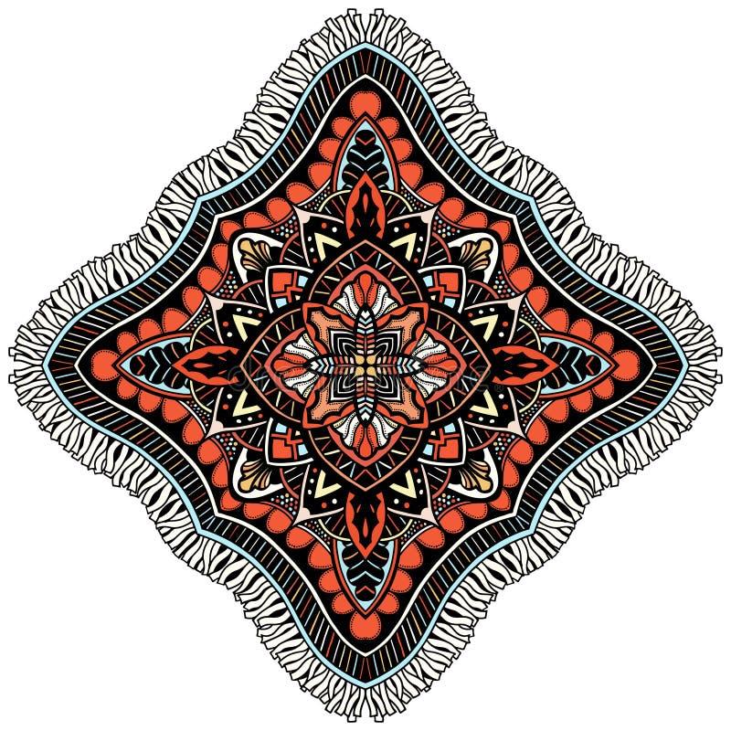 De kaart van de ornamentkleur met mandala stock illustratie