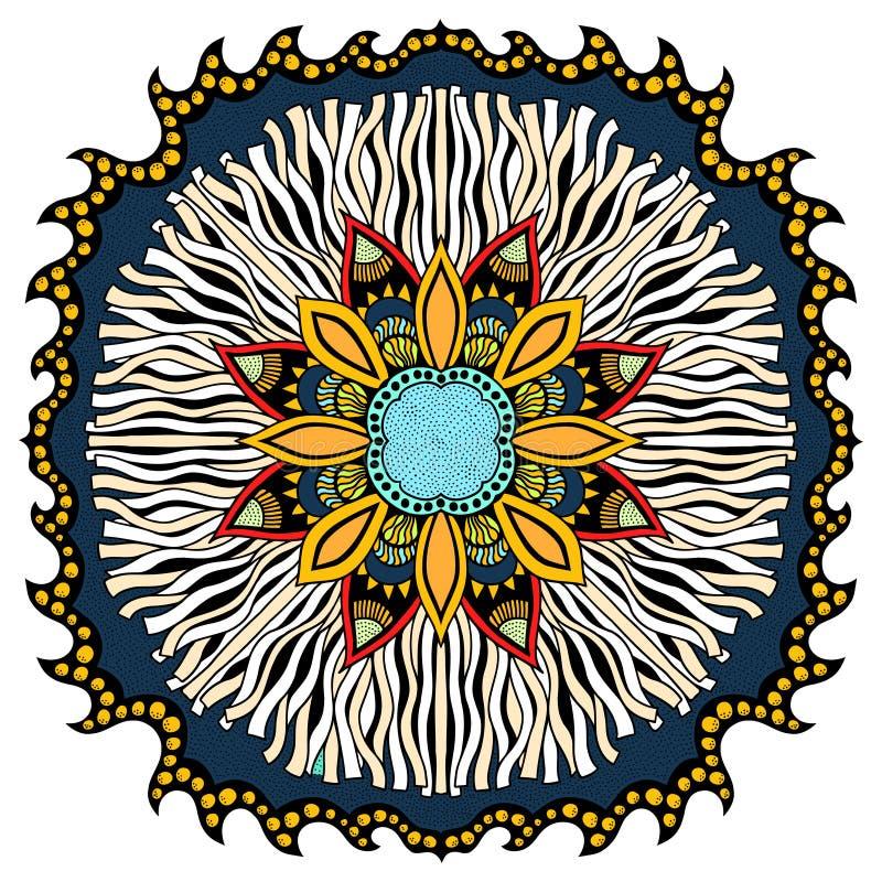 De kaart van de ornamentkleur met mandala royalty-vrije illustratie