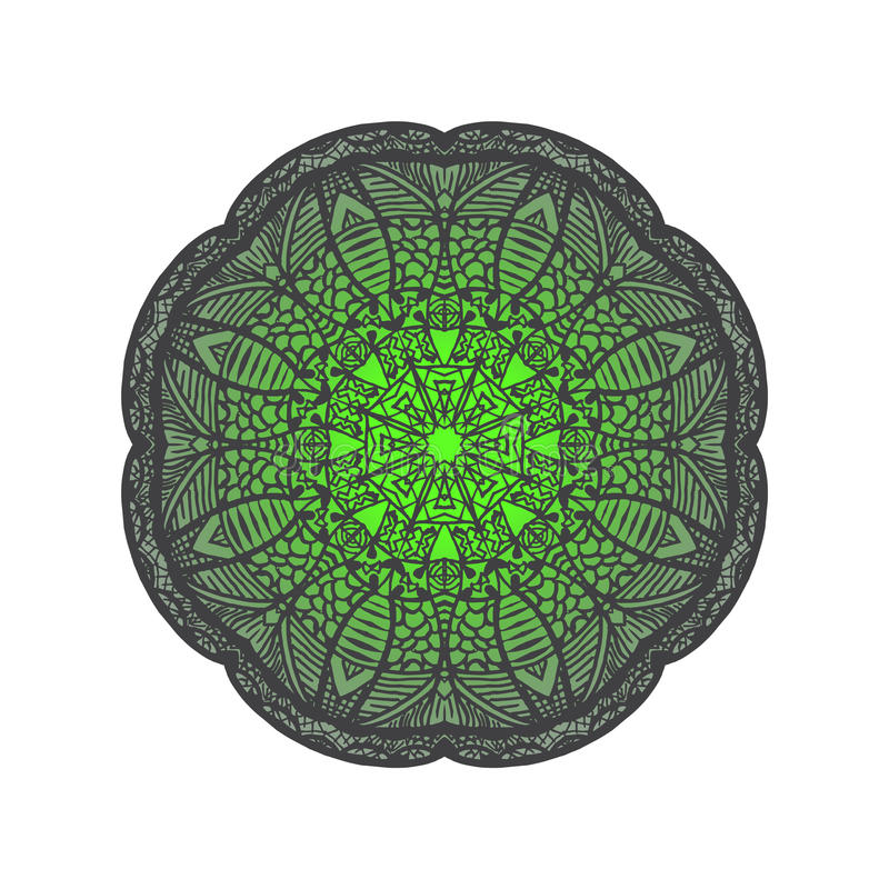 De kaart van de ornamentkleur met mandala Hand Getrokken Achtergrond Yogaembleem stock illustratie