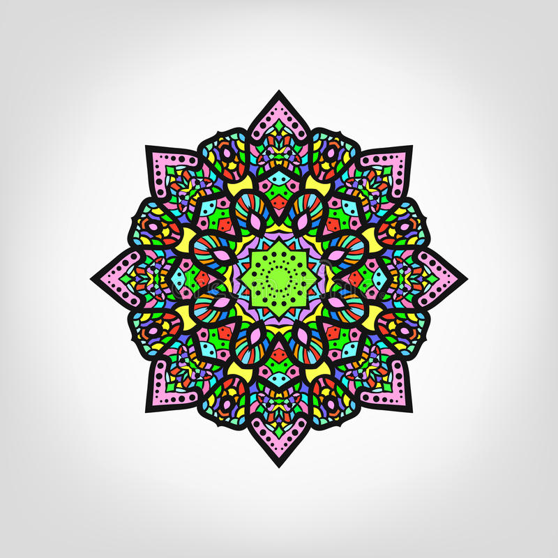 De kaart van de ornamentkleur met mandala Uitstekende decoratieve elementen H stock illustratie