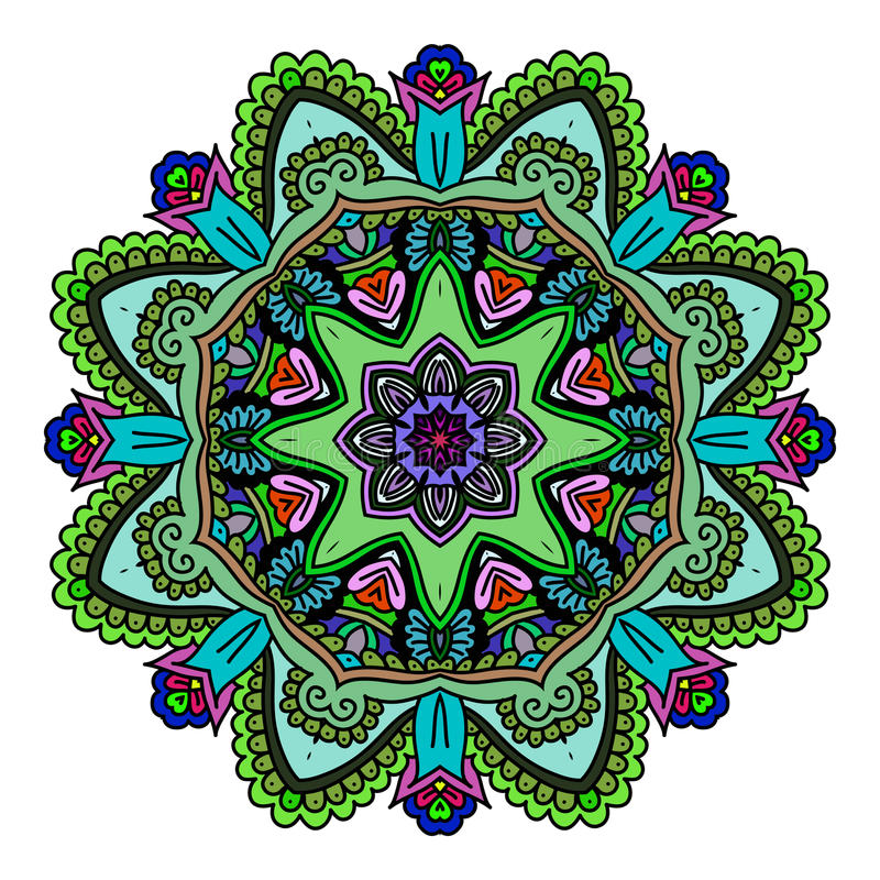 De kaart van de ornamentkleur met mandala Uitstekende decoratieve elementen Hand Getrokken Achtergrond embleem stock illustratie