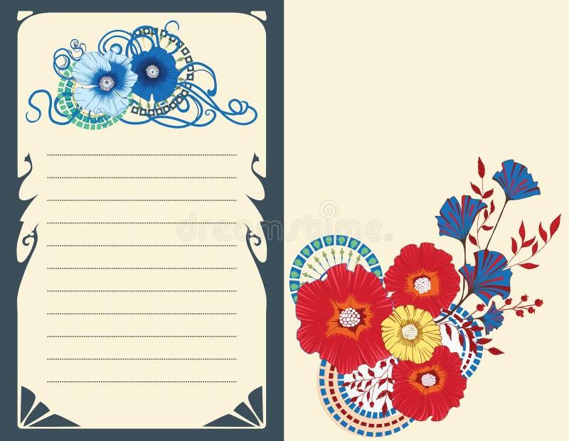 De kaart van de papaverbloem, uitnodigingsontwerp op witte achtergrond Eps 10 stock illustratie