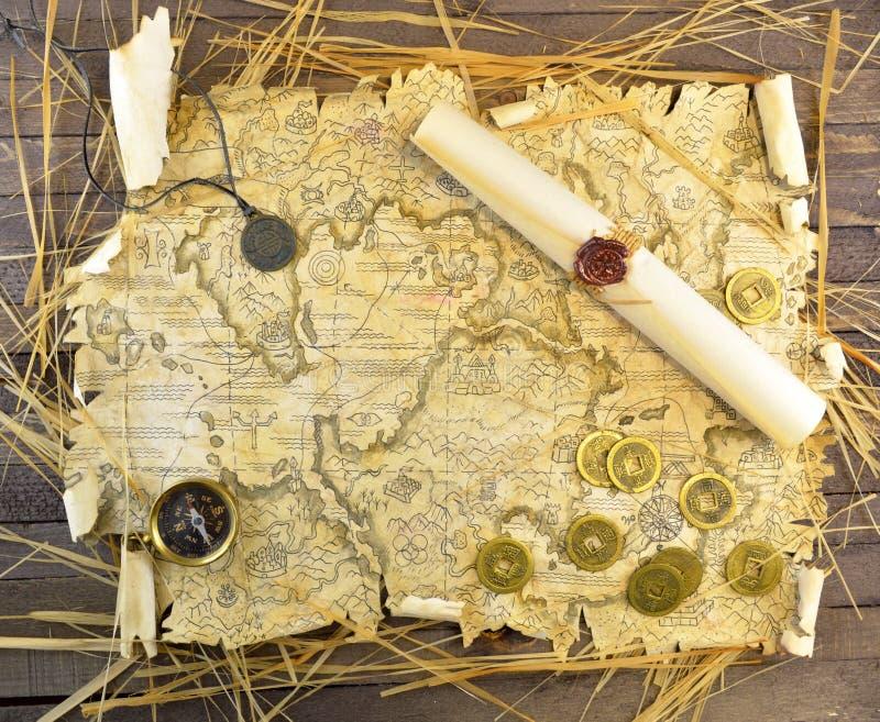 De kaart van de piraat van schatten royalty-vrije stock afbeelding