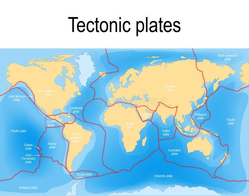 De kaart van de plaattektoniek vector illustratie