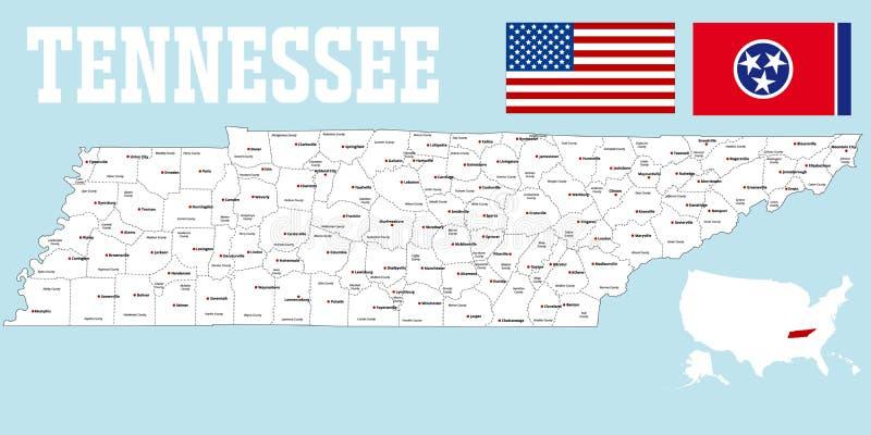 De kaart van de provincie van Tennessee royalty-vrije illustratie