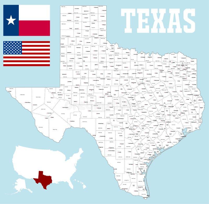 De kaart van de provincie van Texas vector illustratie