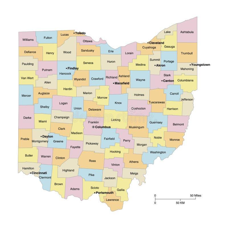 De Kaart van de Provincies van Ohio stock illustratie