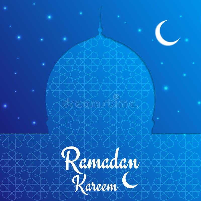 De kaart van de Ramadan kareem Arabische achtergrond met moskee, glanzende sterren, moonand typografie
