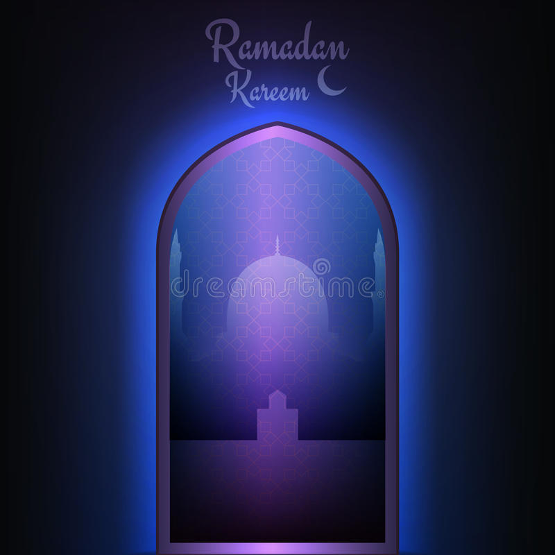 De kaart van de Ramadan kareem Islamitische moskee met heilige lichten
