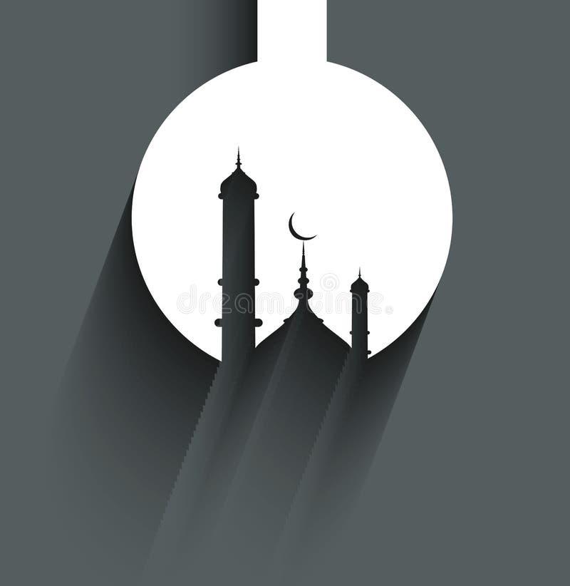 De kaart van de Ramadan kareem moskee voor Godsdienstige achtergrond stock illustratie
