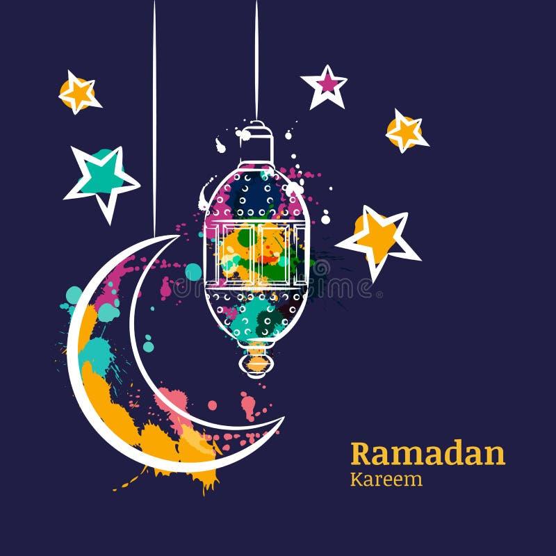 De kaart van de Ramadangroet met traditionele waterverflantaarn, maan en sterren op nachthemel