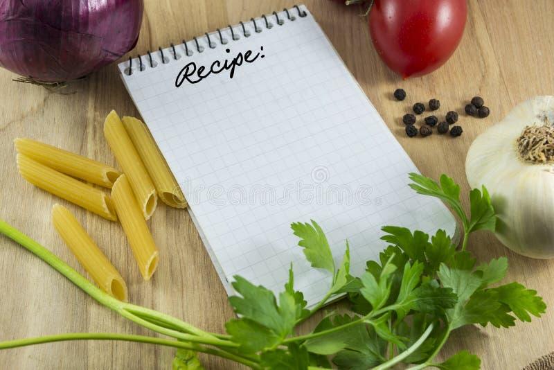 De kaart van de receptennota stock afbeelding