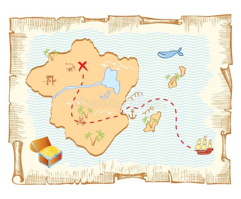 De kaart van de schat. royalty-vrije illustratie