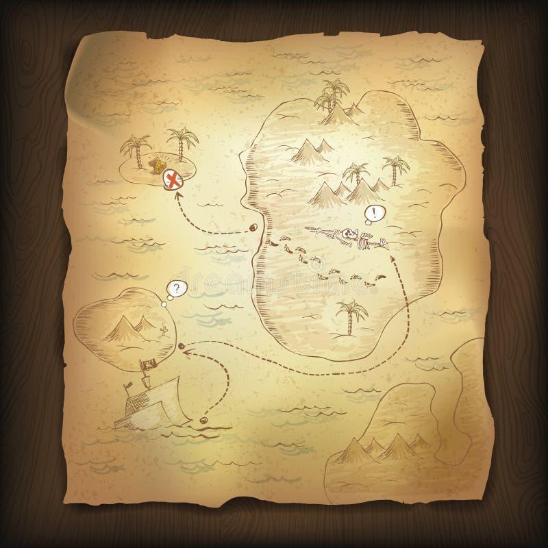 De kaart van de schat. vector illustratie