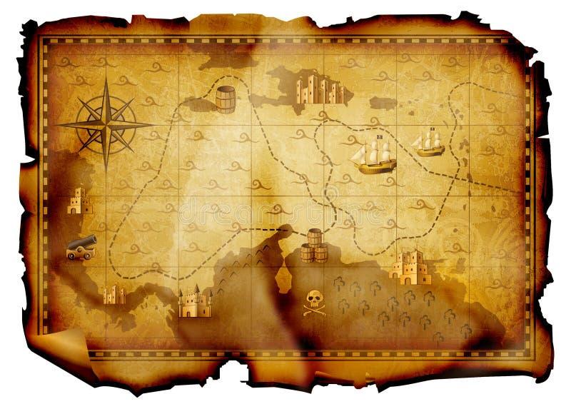 De kaart van de schat royalty-vrije illustratie