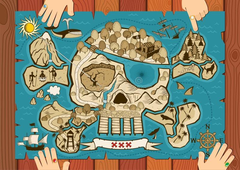 De Kaart van de schat op Bureau royalty-vrije illustratie
