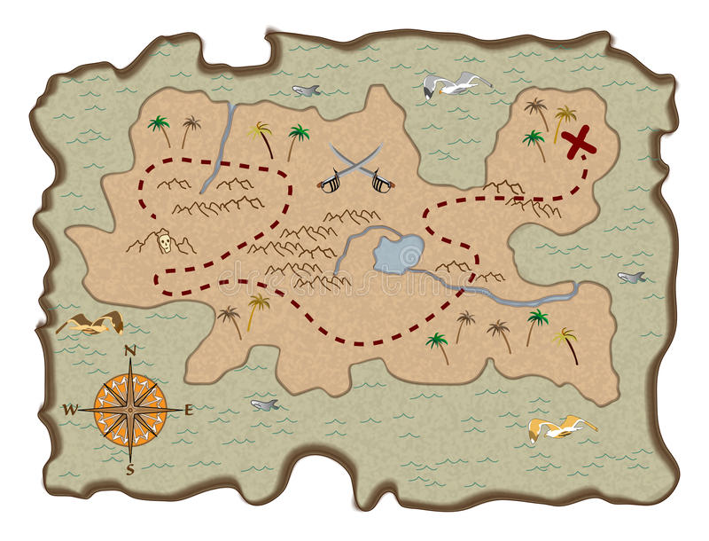 De Kaart van de Schat van de piraat royalty-vrije illustratie