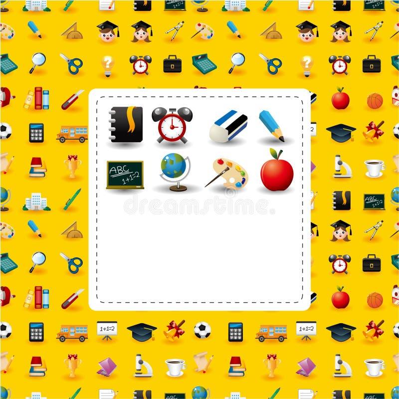 De kaart van de schoolpictogrammen van het beeldverhaal vector illustratie