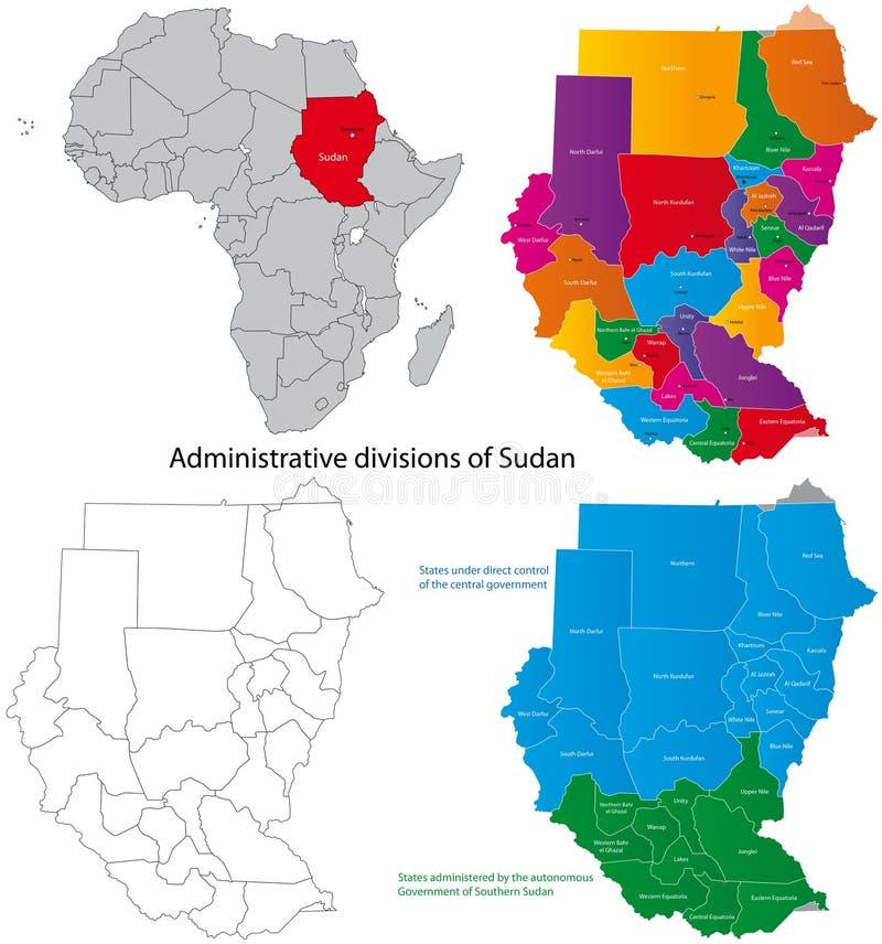 De kaart van de Soedan vector illustratie