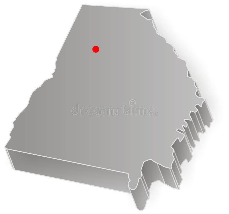 De kaart van de staat van Georgië royalty-vrije illustratie