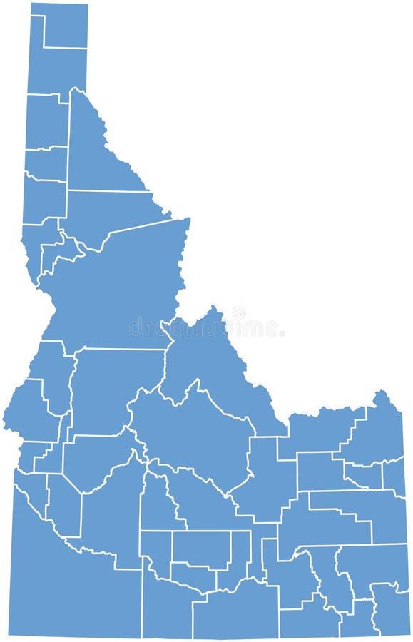 De kaart van de Staat van Idaho door provincies vector illustratie