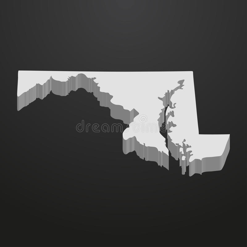 De kaart van de Staat van Maryland in grijs op een zwarte 3d achtergrond royalty-vrije illustratie