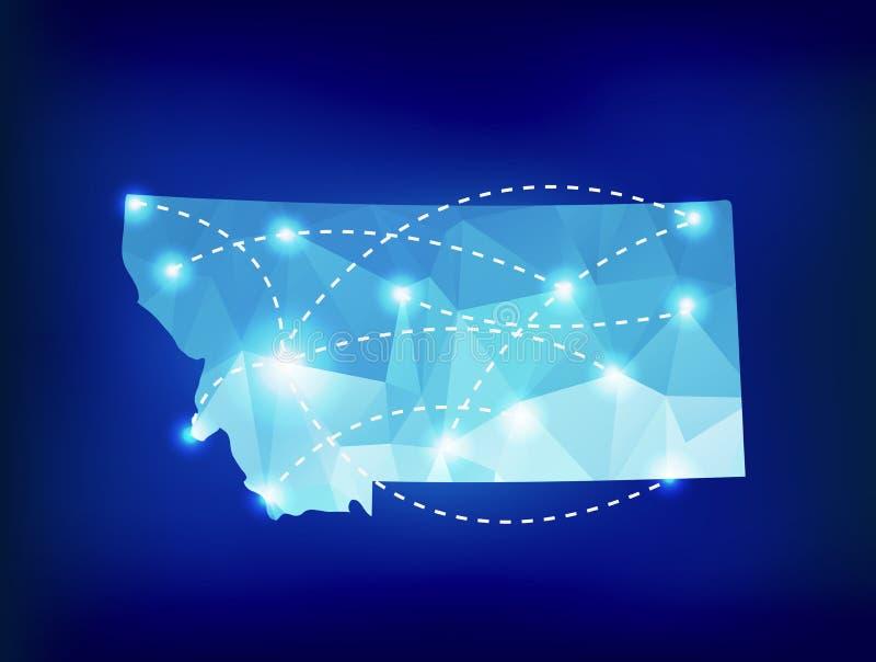 De kaart van de staat van Montana veelhoekig met schijnwerpersplaatsen vector illustratie