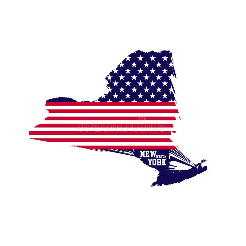 De kaart van de Staat van New York bevat van de vlagkleuren van de V.S. royalty-vrije illustratie