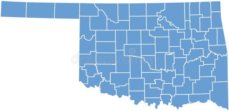 De kaart van de Staat van Oklahoma door provincies vector illustratie