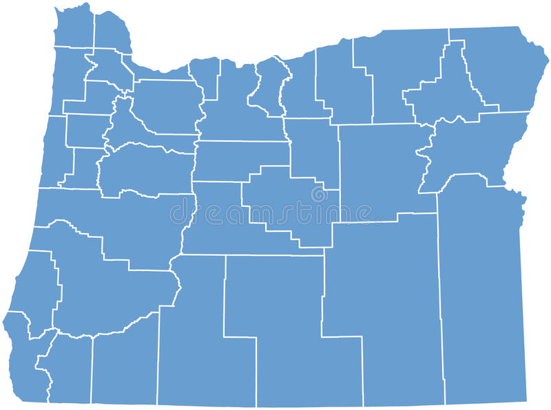 De kaart van de Staat van Oregon door provincies royalty-vrije illustratie