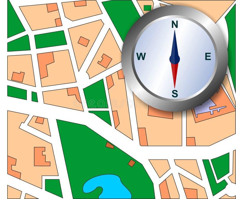 De kaart van de stad met kompas stock illustratie