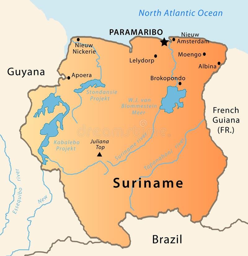 De kaart van de Suriname stock illustratie